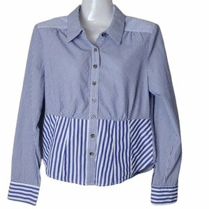 Maeve by Anthropologie Blue Striped Blouse 6